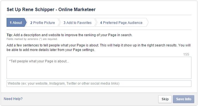 Facebook pagina aanmaken gegevens