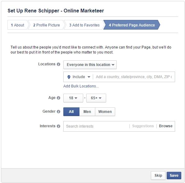 Facebook pagina aanmaken voorkeur publiek