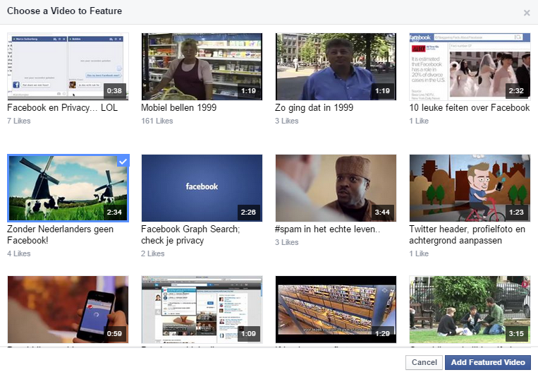 Kiezen van een Featured Video op Faceboook