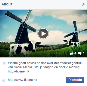 Video in About onderdeel Facebook pagina