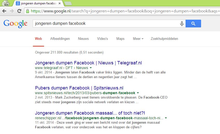 Resultaat Google na shares op social media