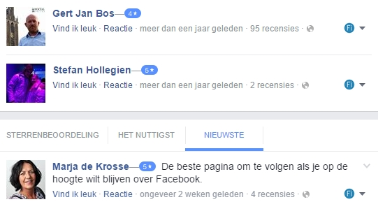 Overzicht recensies Facebook