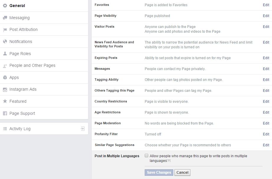 Facebook updates in meerdere talen