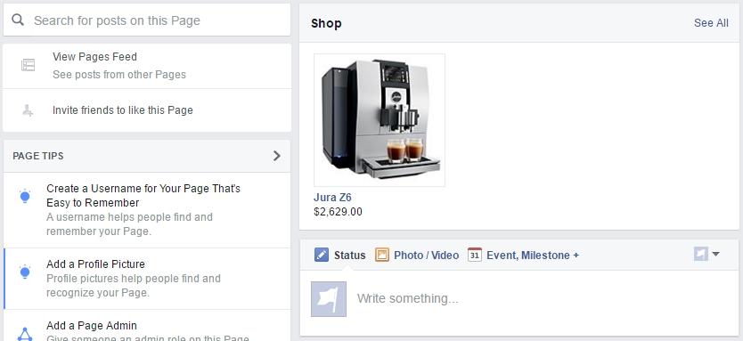 Product in Facebook webshop