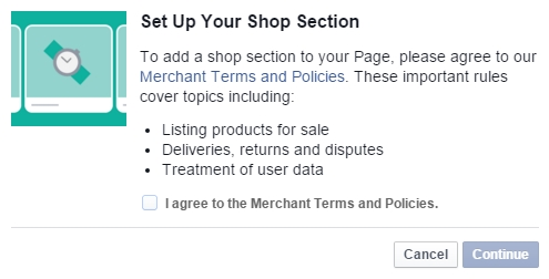 Facebook shop section setup