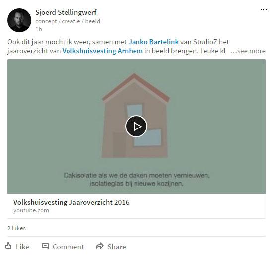 YouTube link als Linkedin update plaatsen