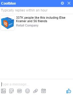 coolblue facebook bericht zonder welkomstbericht
