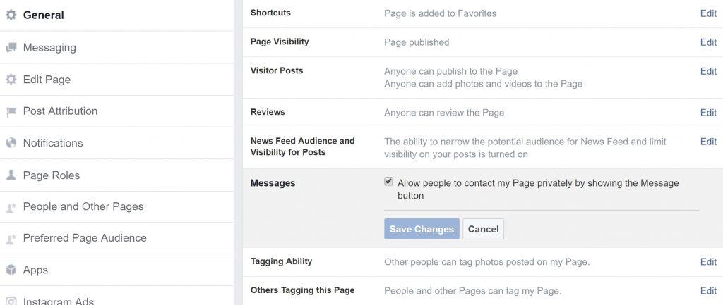 Facebook Messenger berichten op pagina-instellingen