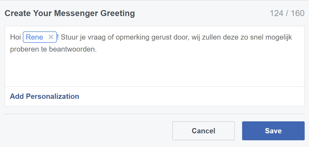 facebook messenger persoonlijke begroeting