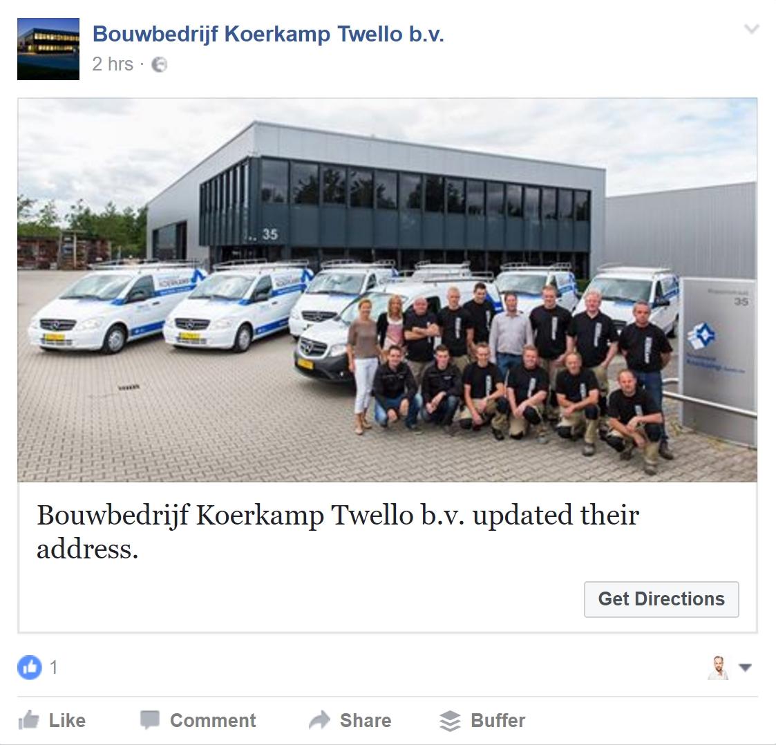 facebook update na wijzigen info pagina