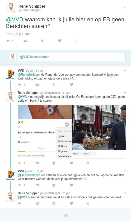 Twitter conversatie VVD over ontbreken Messenger op Facebook
