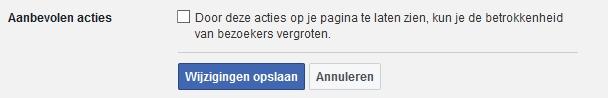 instellingen aanbevolen acties facebook pagina