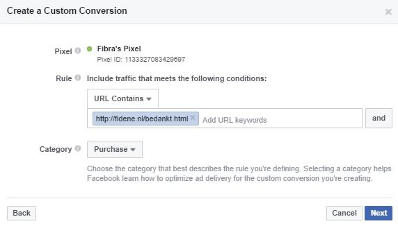 facebook marketing aangepaste conversie