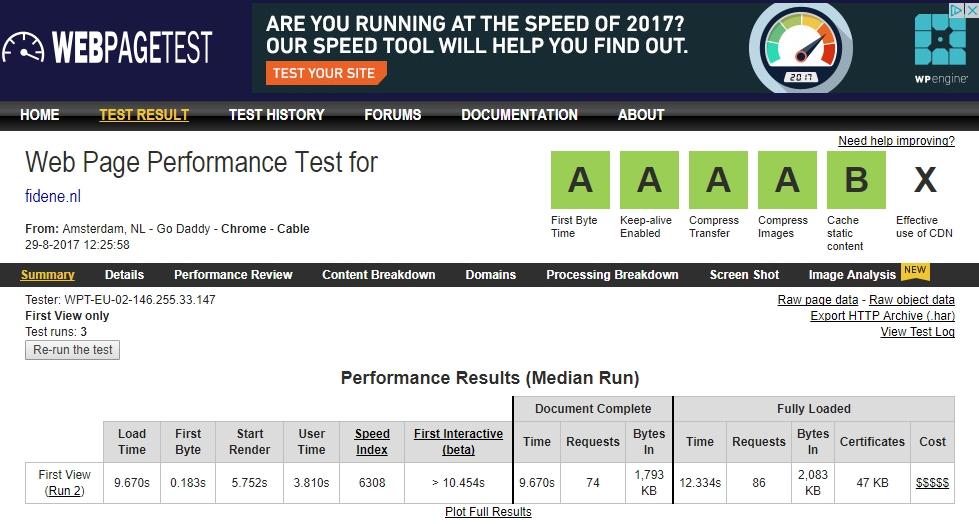 Overzicht webpage test voor Facebook
