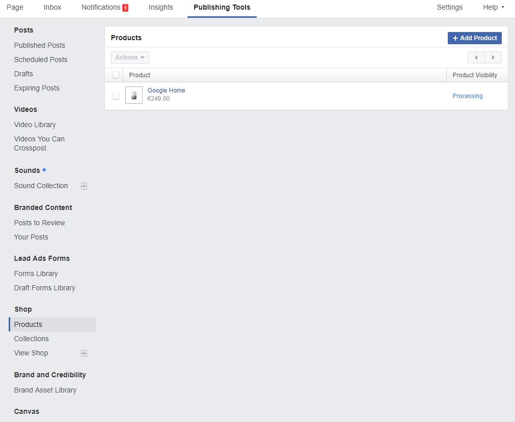facebook webshop beheren
