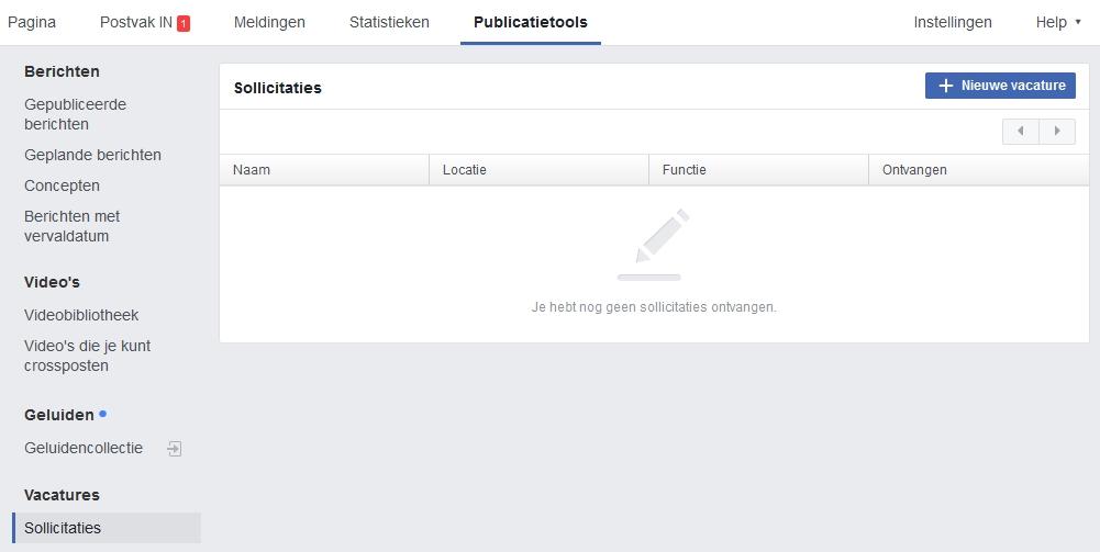 overzicht sollicitaties vacatures Facebook