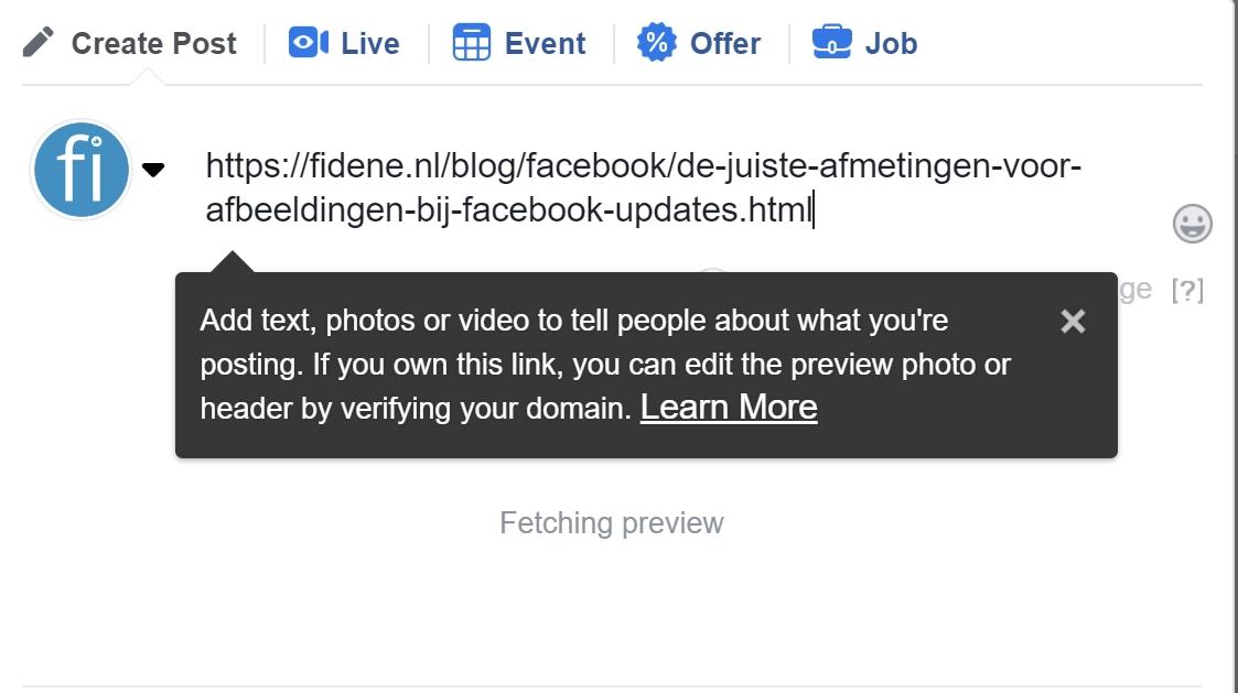 facebook perfecte update met link