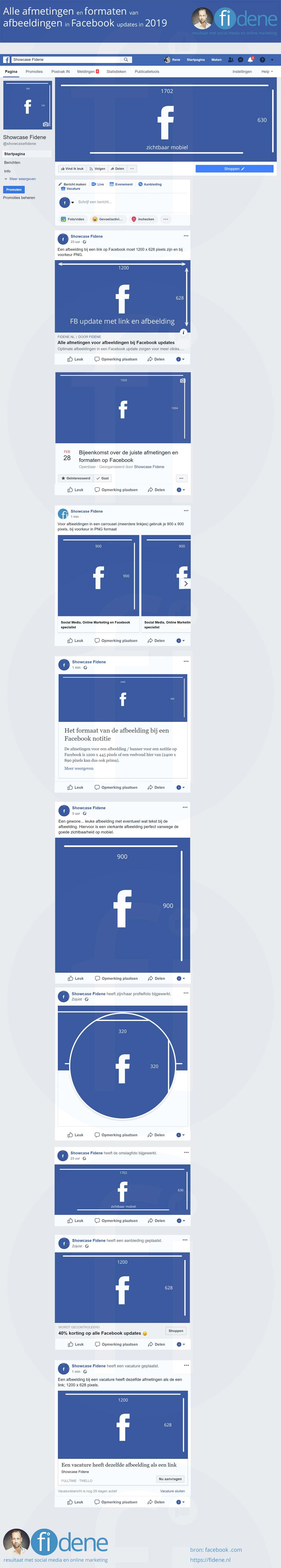 Infographic afmetingen formaten facebook afbeeldingen updates 2019